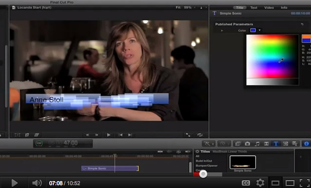 Customizing a Title in FCP X 1
