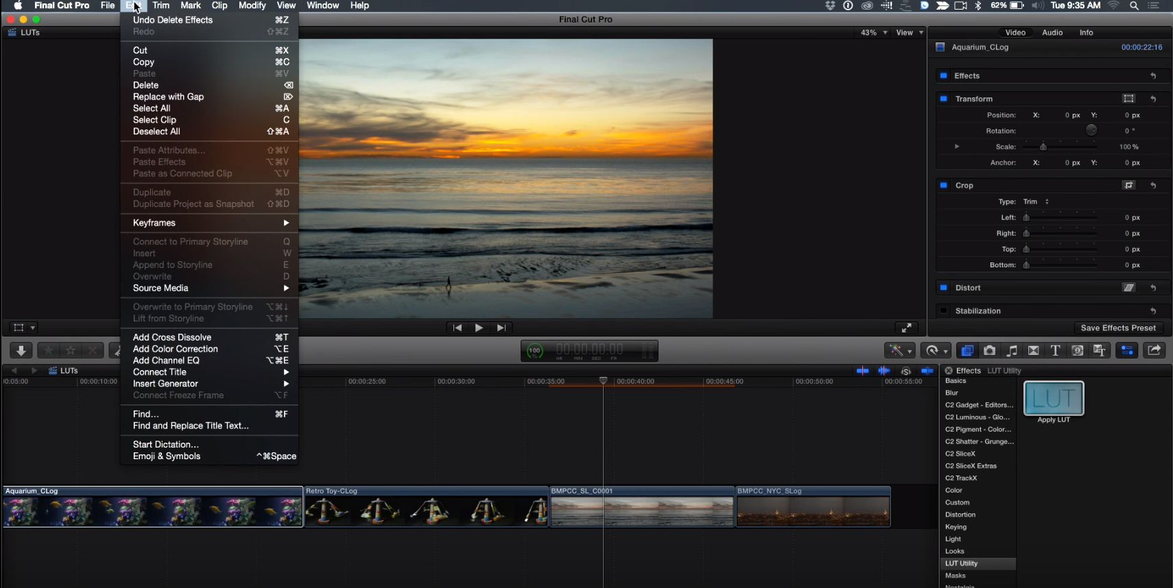 One step LUTs in Final Cut Pro X 8