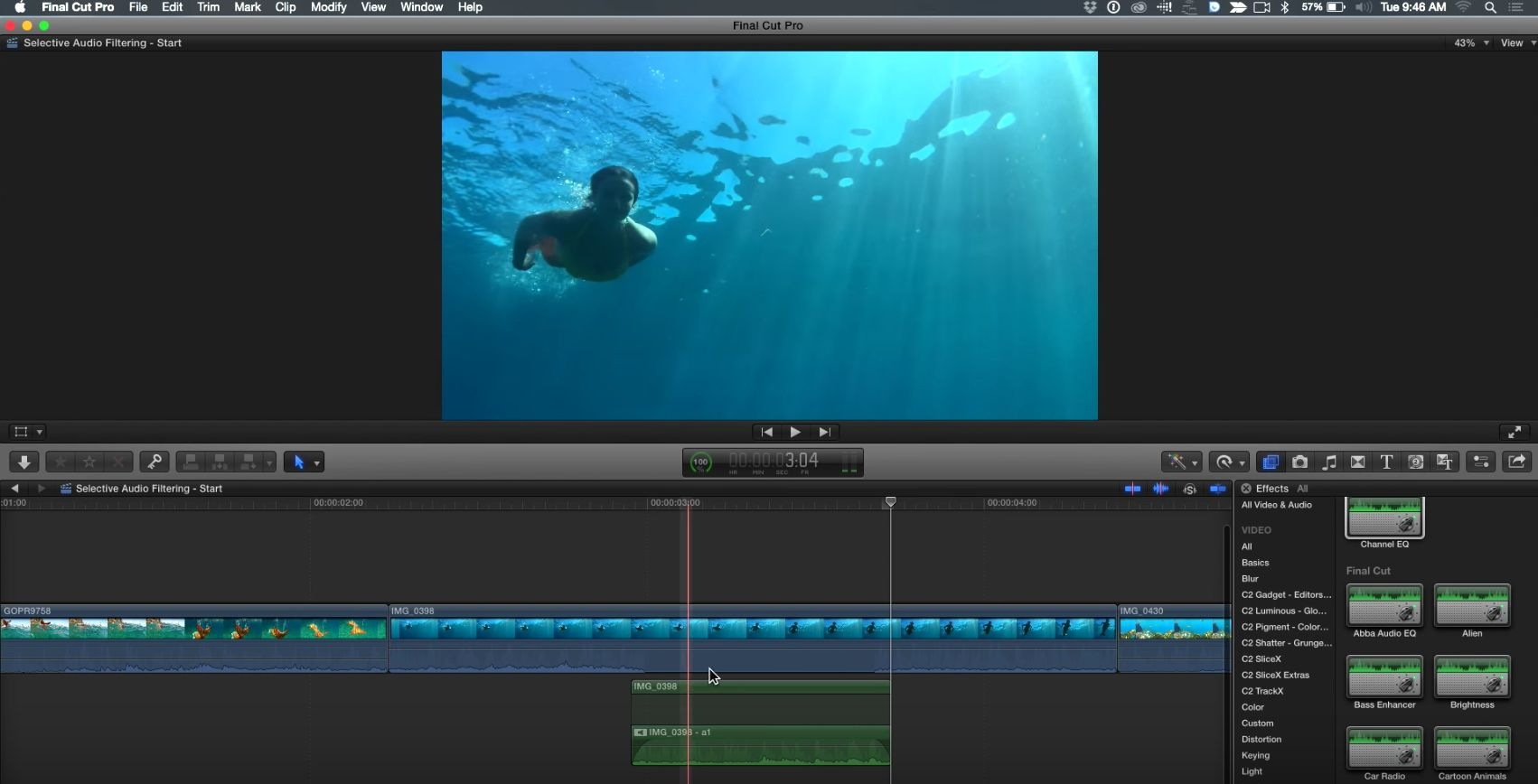 Selective Audio Filtering in Final Cut Pro X 7