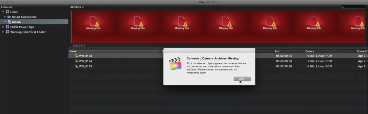 Reimporting from Camera Archives in Final Cut Pro X 3