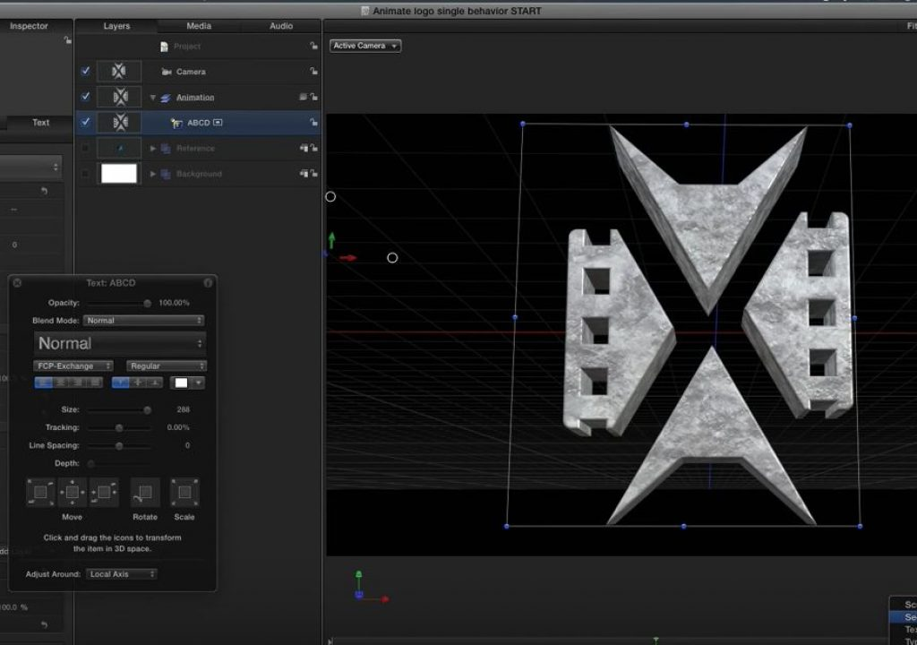 Creating and animating 3D logos in Motion 1