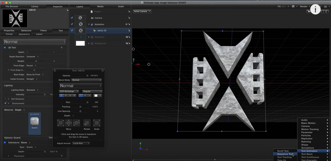 Creating and animating 3D logos in Motion 2