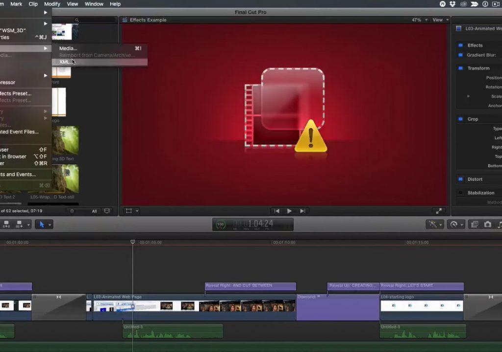 Locating missing FX in Final Cut Pro X 1
