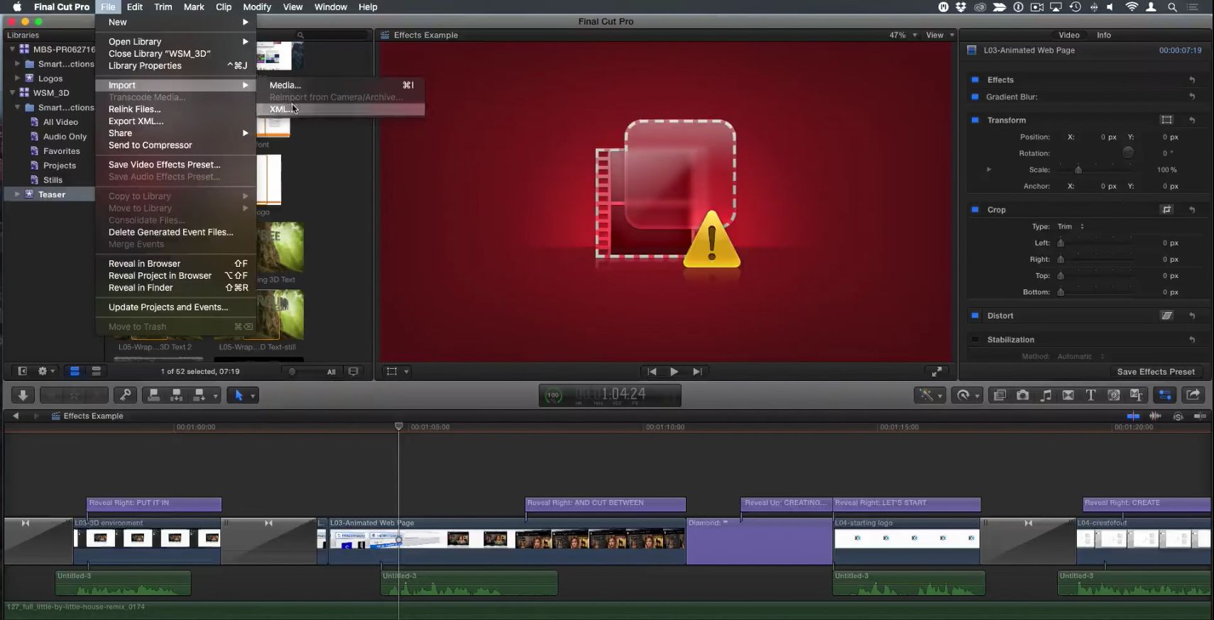 Locating missing FX in Final Cut Pro X 7