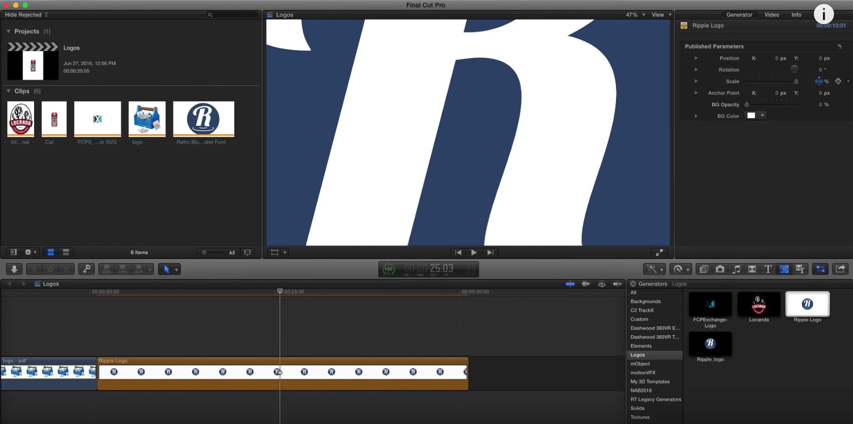 Working with vector graphics in Final Cut Pro X 2