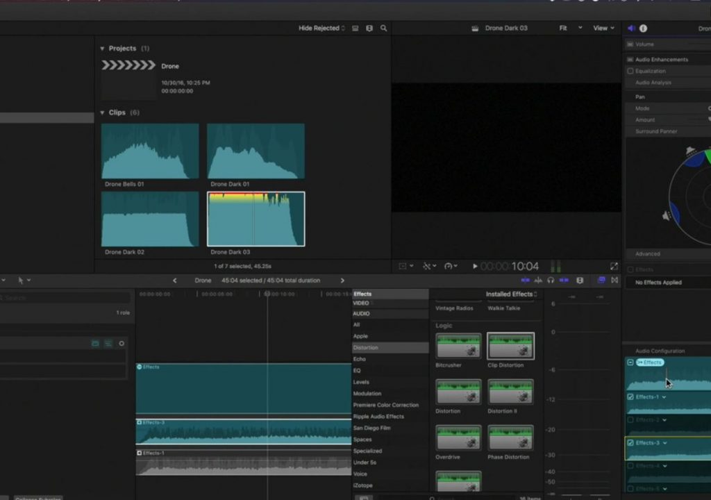 The audio signal path in Final Cut Pro 10.3 1