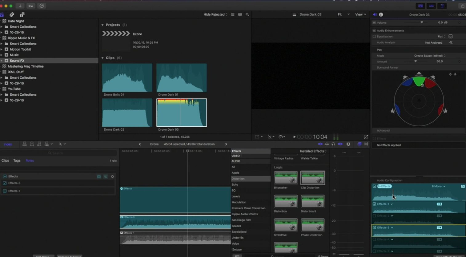 The audio signal path in Final Cut Pro 10.3 2