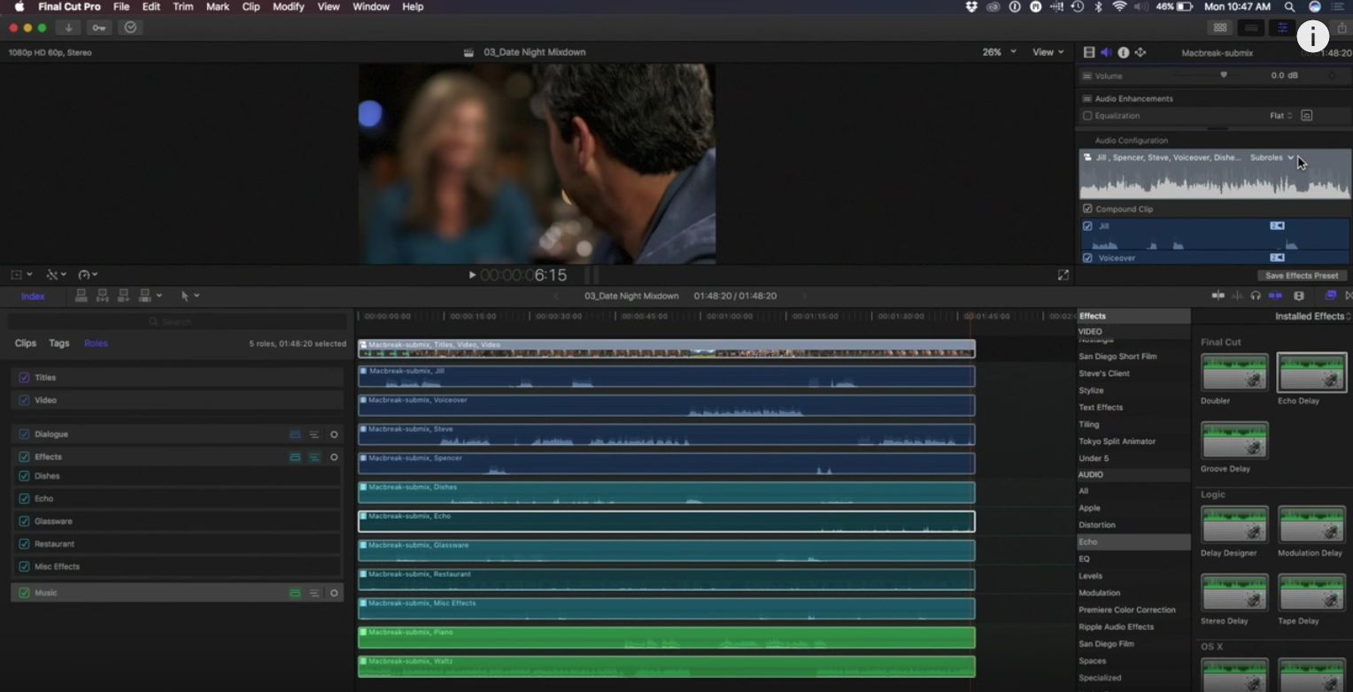 Advanced mixing with Roles in Final Cut Pro 10.3 2
