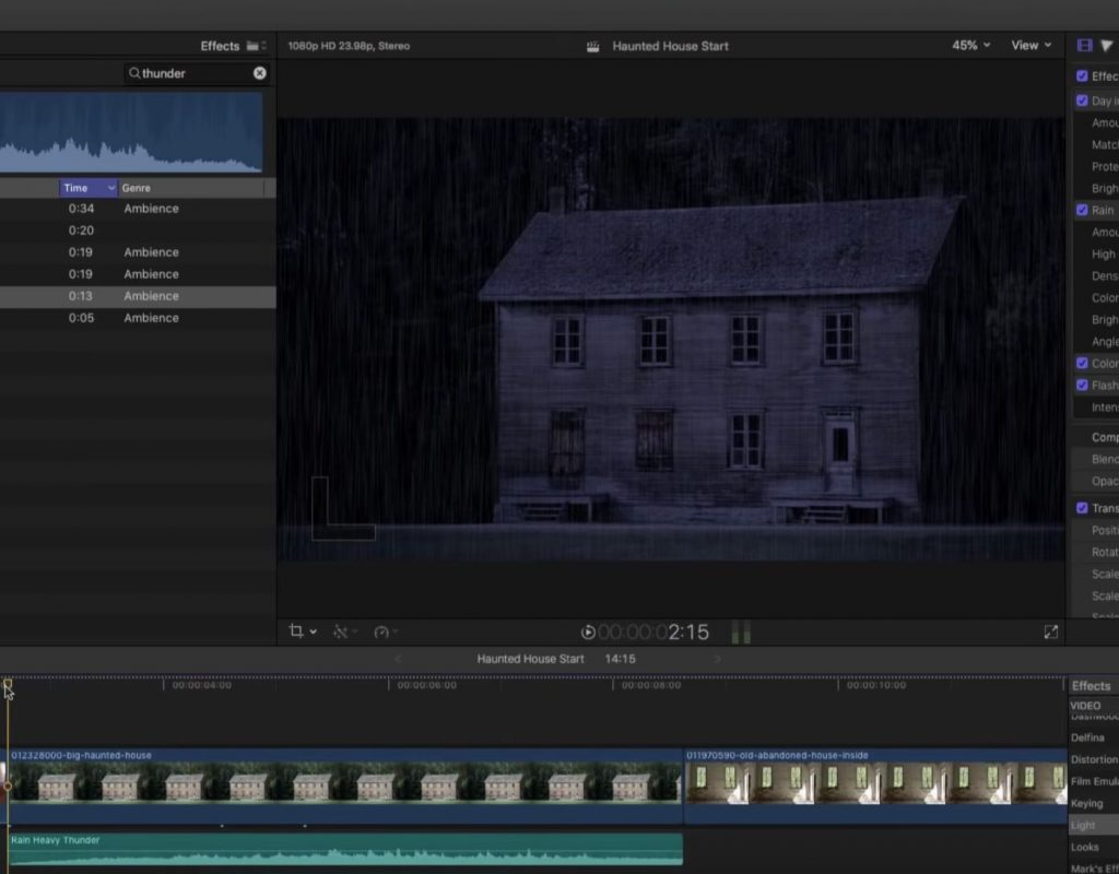 Creating a Dark and Stormy Night in Final Cut Pro X 1