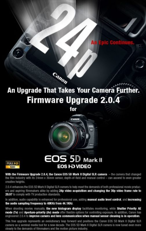 Canon Updates 5D MKII Firmware (Fixes Audio Bug) 1