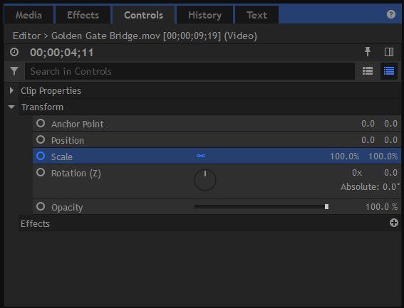 HitFilm Pro - Controls Window