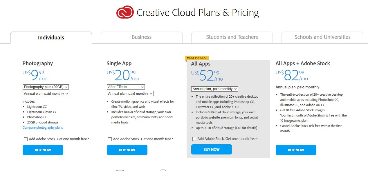 Creative Cloud License options