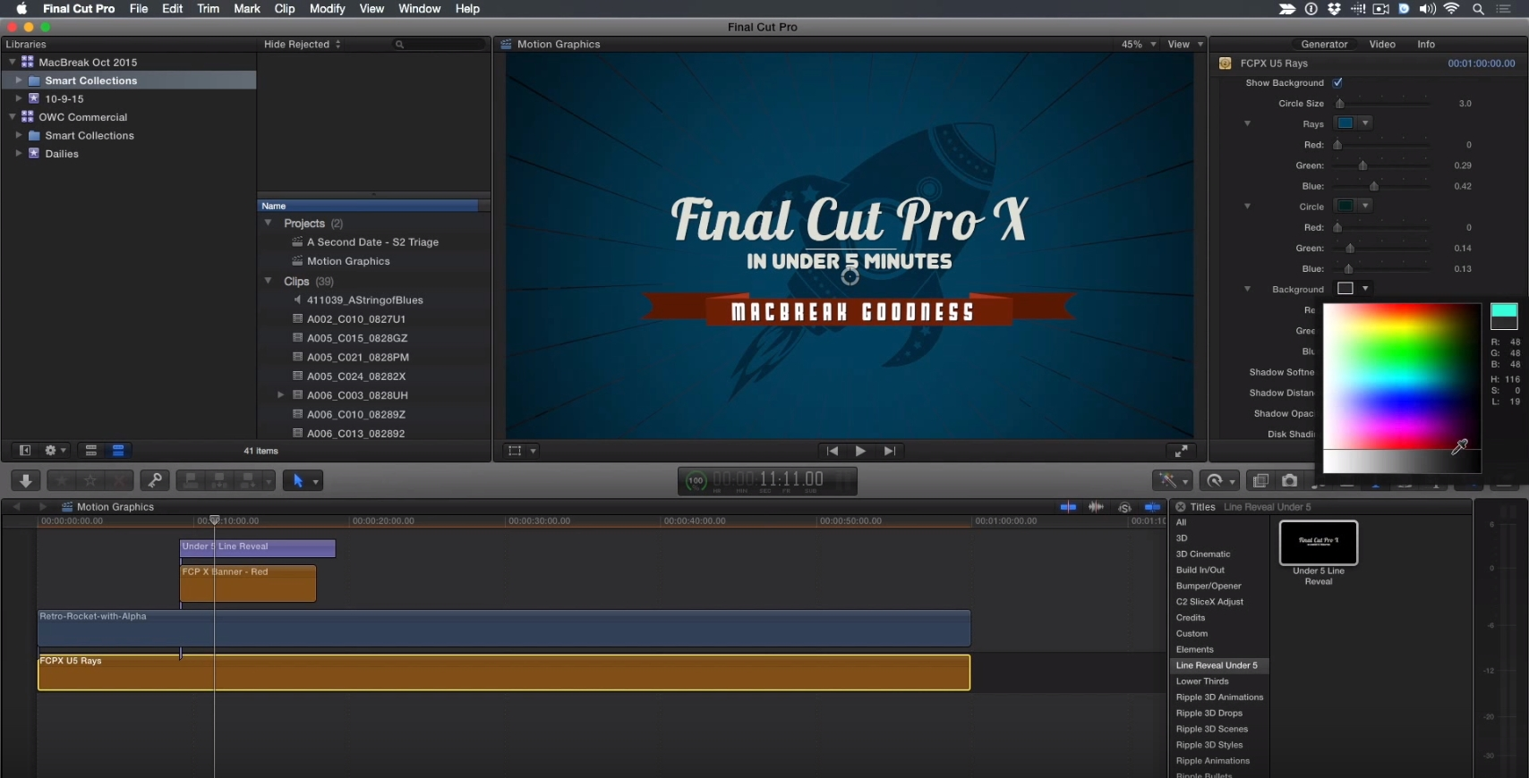 Building a Motion Graphics Toolkit in Final Cut Pro X 9