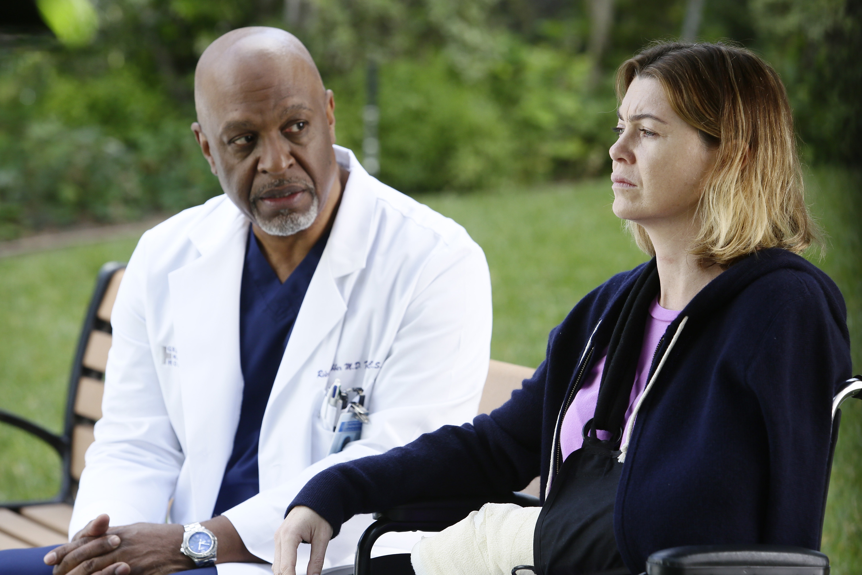 """GREY'S ANATOMY - """"The Sound of Silence"""" - Meredith is brutally attacked by a patient, and Penny is the one who discovers her. The doctors of Grey Sloan Memorial rush to stabilize Meredith and remain by her side in the harrowing aftermath, on the midseason return of """"Grey's Anatomy,"""" THURSDAY, FEBRUARY 11 (8:00--9:00 p.m. EST) on the ABC Television Network. (ABC/Nicole Wilder) JAMES PICKENS JR., ELLEN POMPEO"""