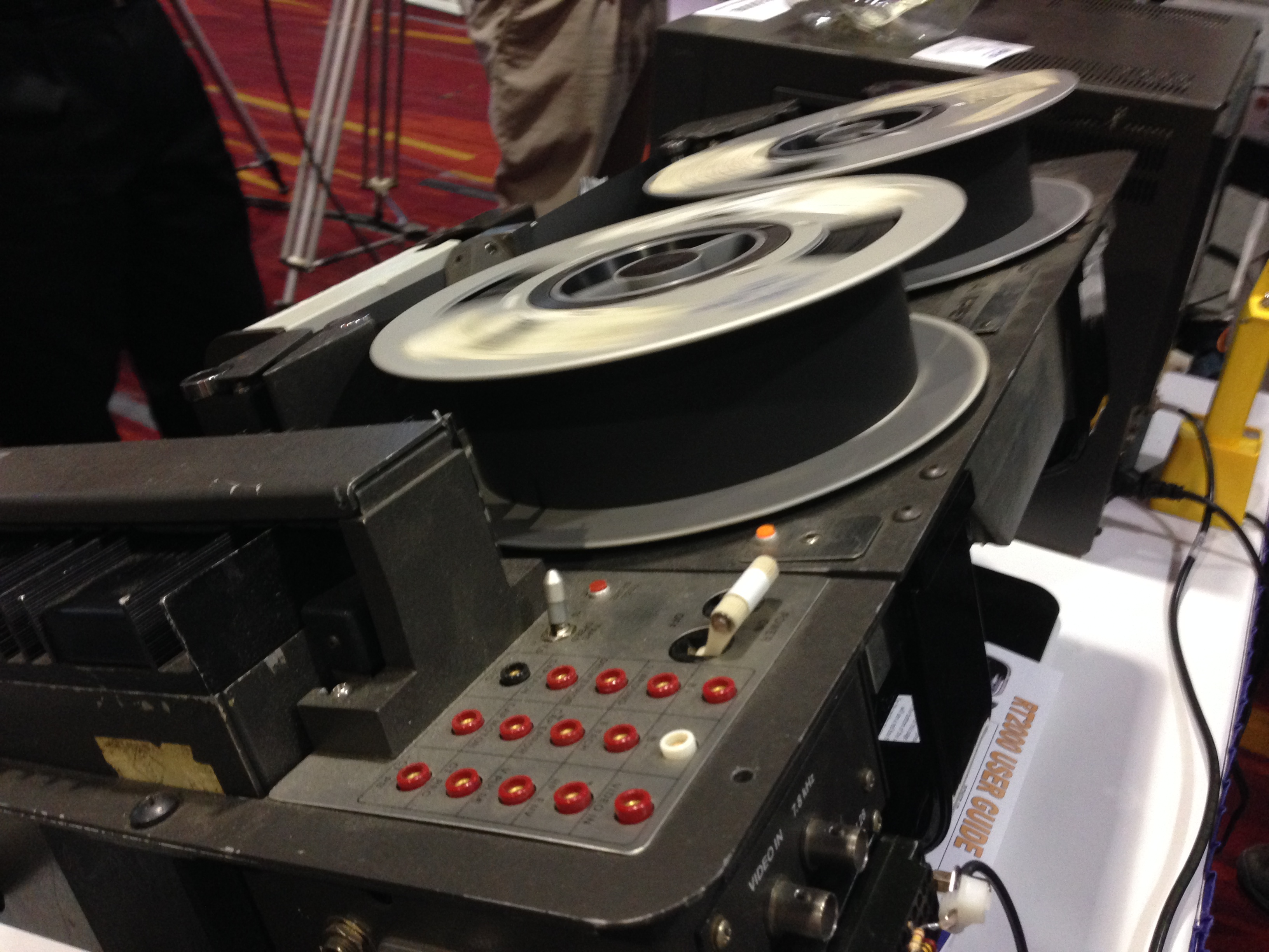 Ampex 3000B in motion. The tape crosses the four video heads at 30 inches per second.