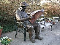 Reading the newspaper: Brookgreen Gardens in P...