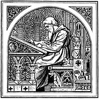 Illustration of a scribe writing