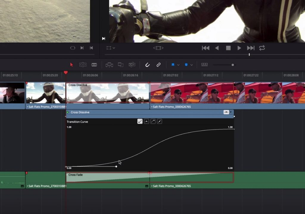Using the Transition Curves Editor in Resolve 1