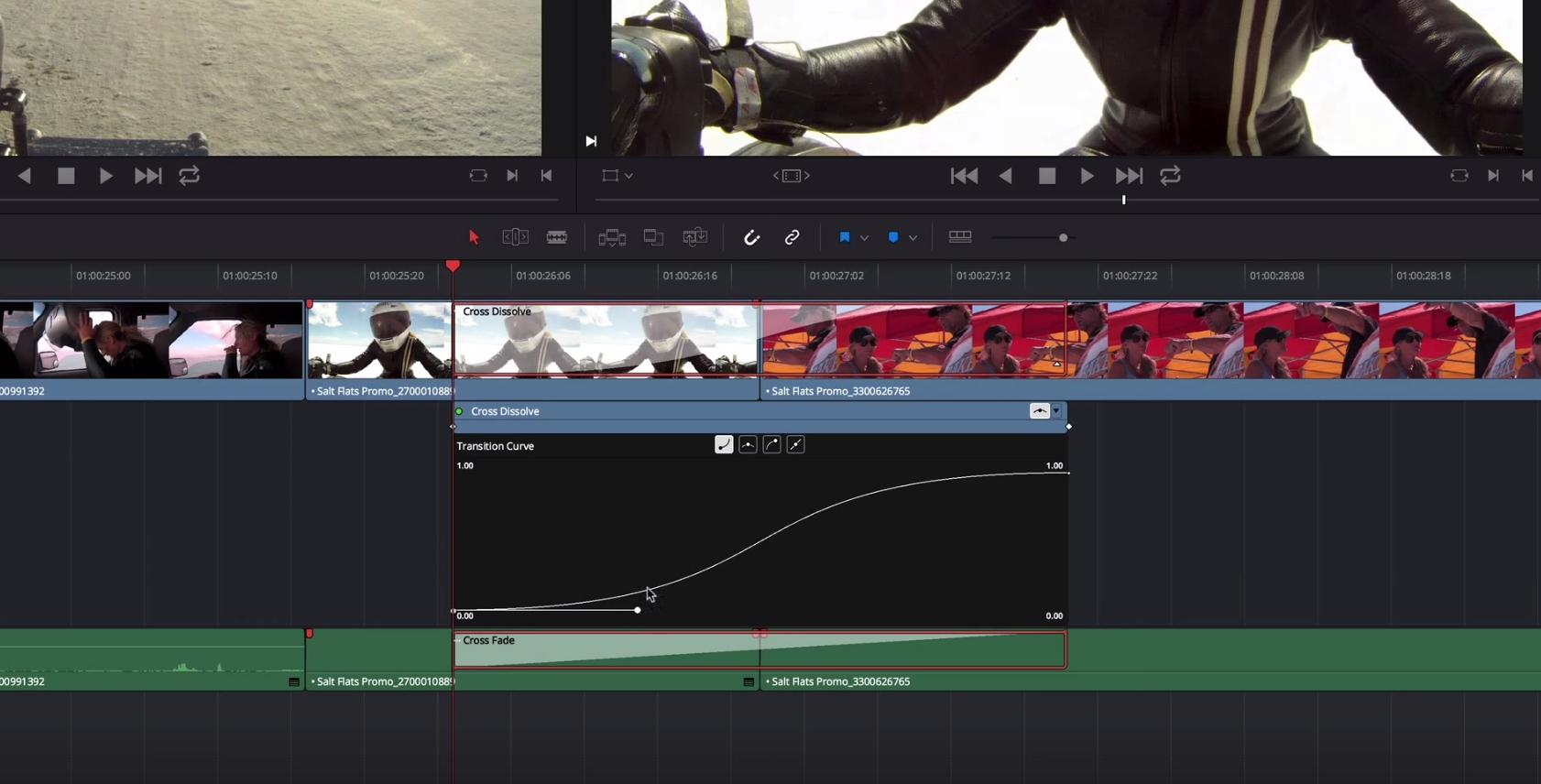 Using the Transition Curves Editor in Resolve 6