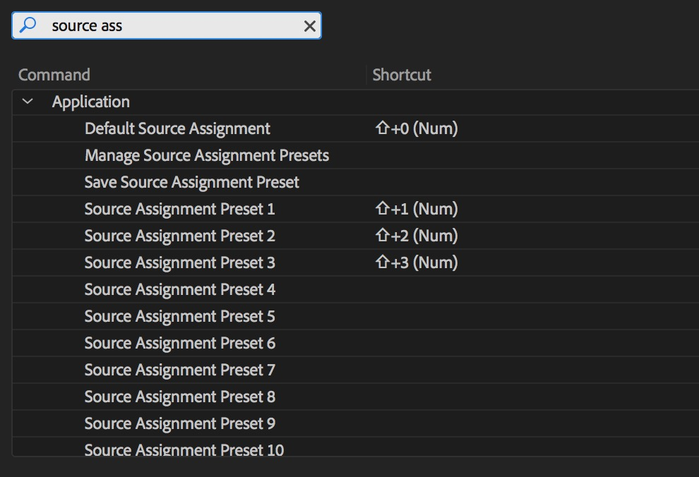 Adobe Premiere Pro keyboards source search