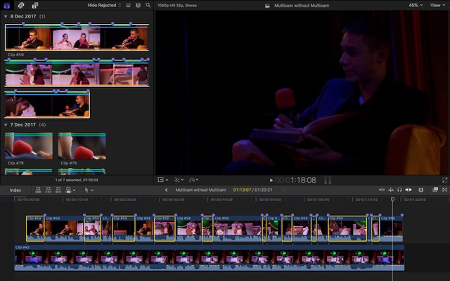 Final Cut Pro X multicam syncd