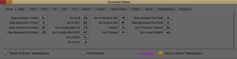 Avid Media Composer command palette menu to button