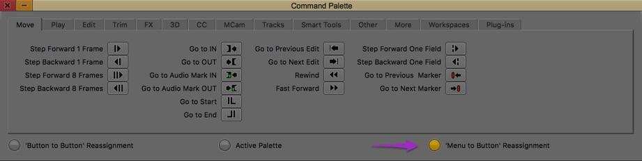 Avid Media Composer command palette menu to button