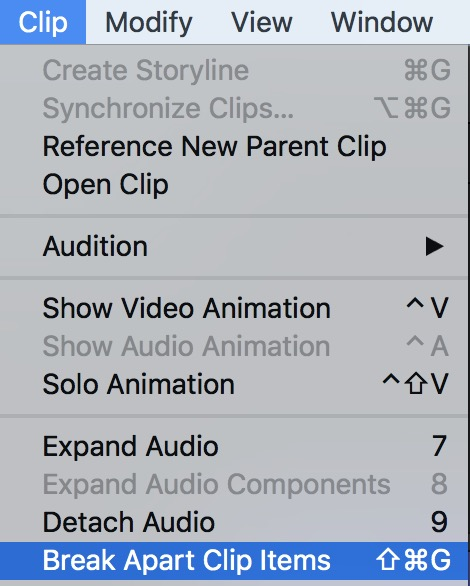 Final Cut Pro X break apart clip items