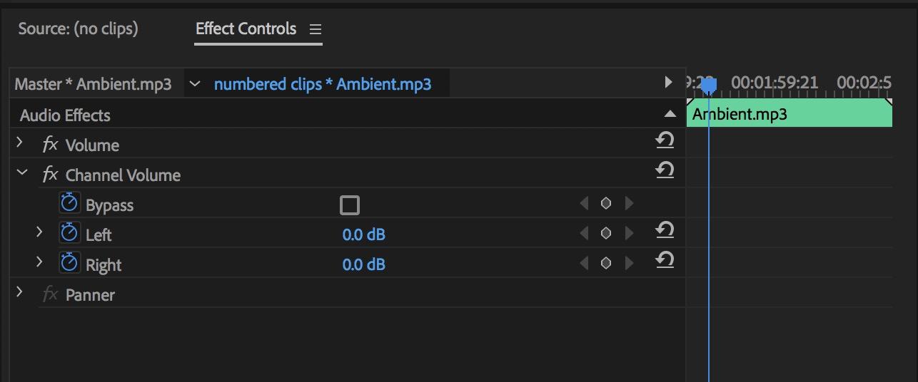Adobe Premiere Pro channel volume via effect controls