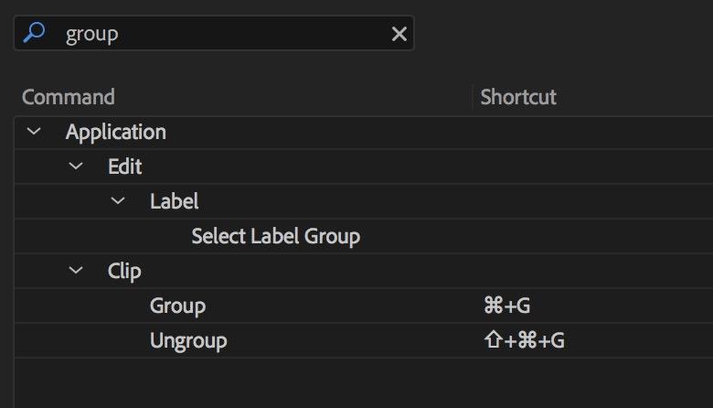 Adobe Premiere Pro group keyboard default