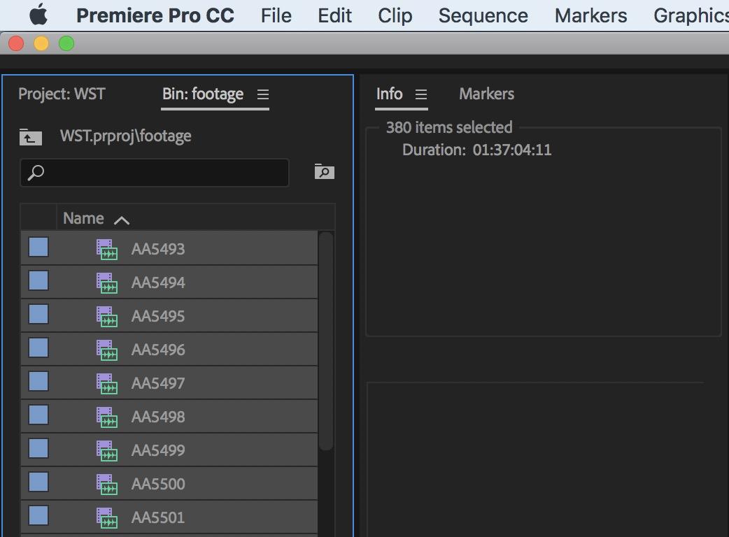 Adobe Premiere Pro Info duration