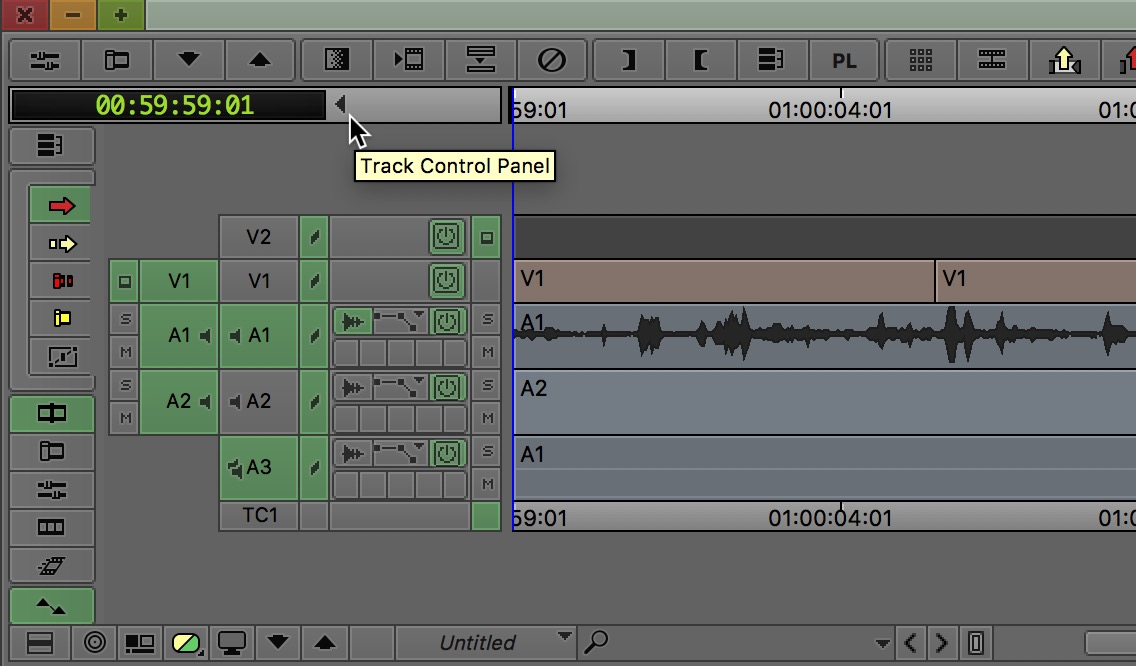 Avid Media Composer track control panel