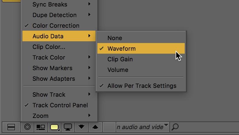 Avid Media Composer fast menu audio data