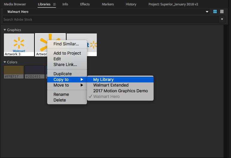 Adobe Premiere Pro Library copy to