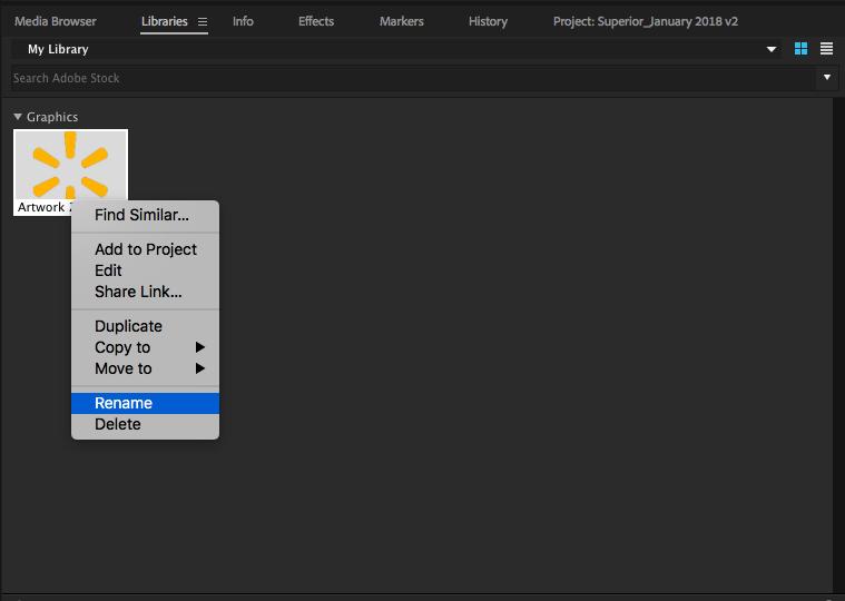 Adobe Premiere Pro Library rename