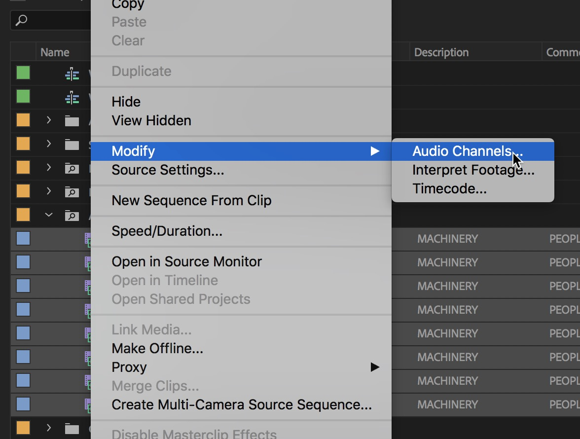Adobe Premiere Pro modify audio channels