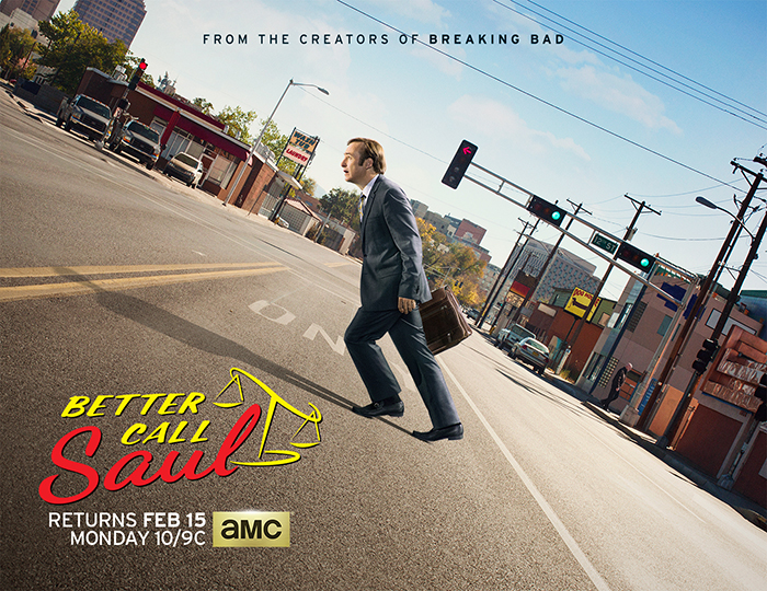 Bob Odenkirk as Jimmy McGill and Jonathan Banks as Mike Ehrmantraut - Better Call Saul _ Season 2, Key Art - Photo Credit: Ben Leuner/AMC