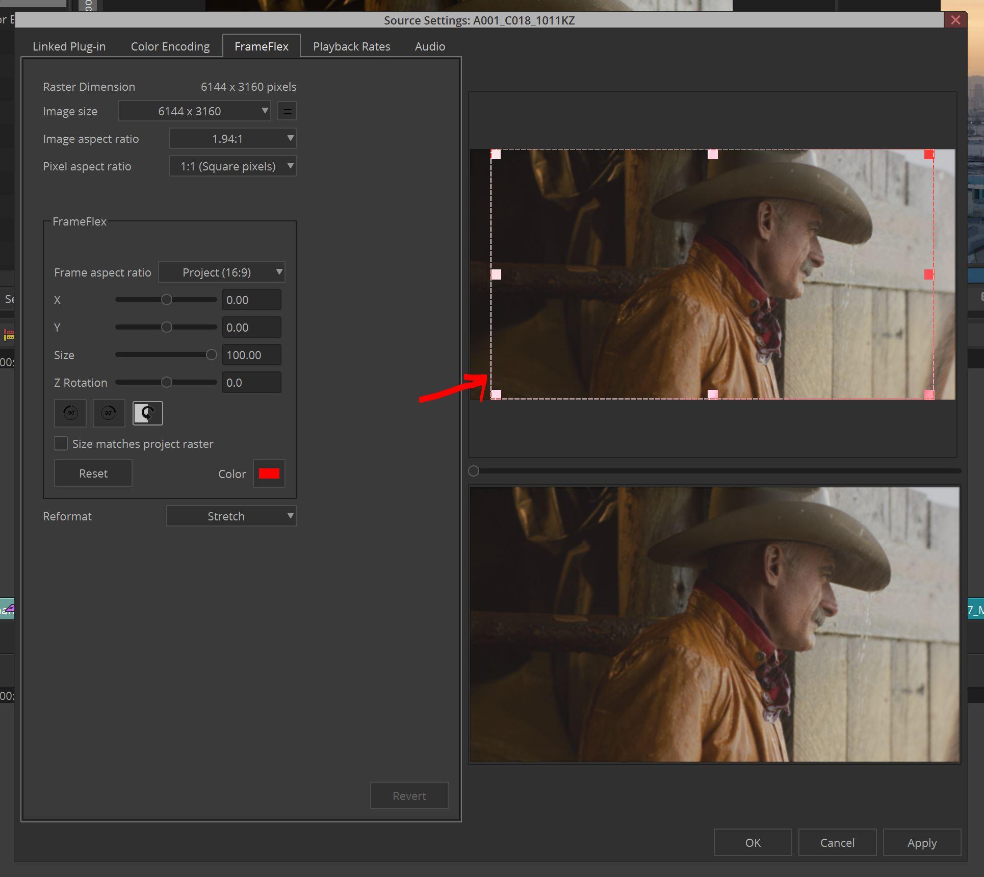 Media Composer FrameFlex Window