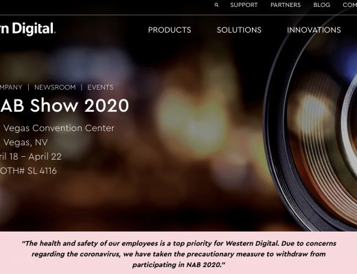 """Western Digital out of NAB2020 """"due to concerns regarding the coronavirus"""""""