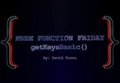 Free Function Friday getKeysBasic