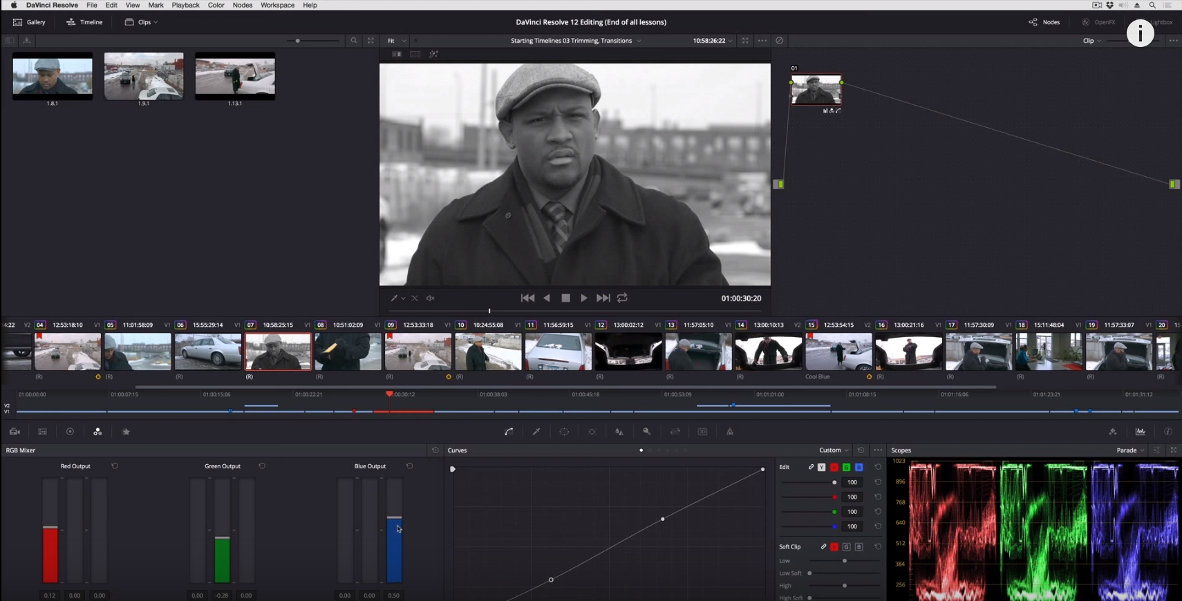 Custom monochrome effects in DaVinci Resolve 4