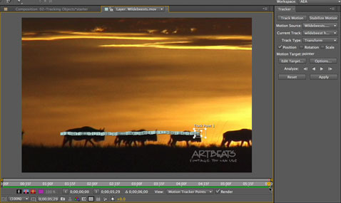 After Effects Apprentice Free Video: Performing a Motion Track 1