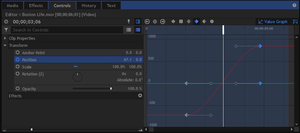 HitFilm Pro - Value Graph
