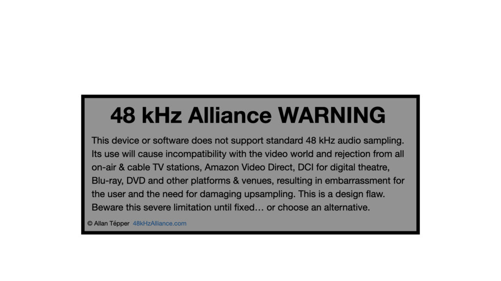 48 kHz Alliance Warning label is born 1