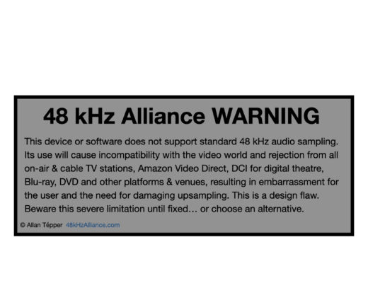 48 kHz Alliance Warning label is born 25