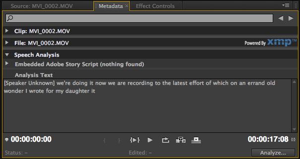 Adobe's Speech Analysis is still chugging along in Premiere Pro CS5.5 1