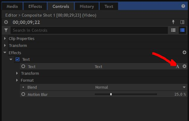 HitFilmPro - Text - Adjustment Window