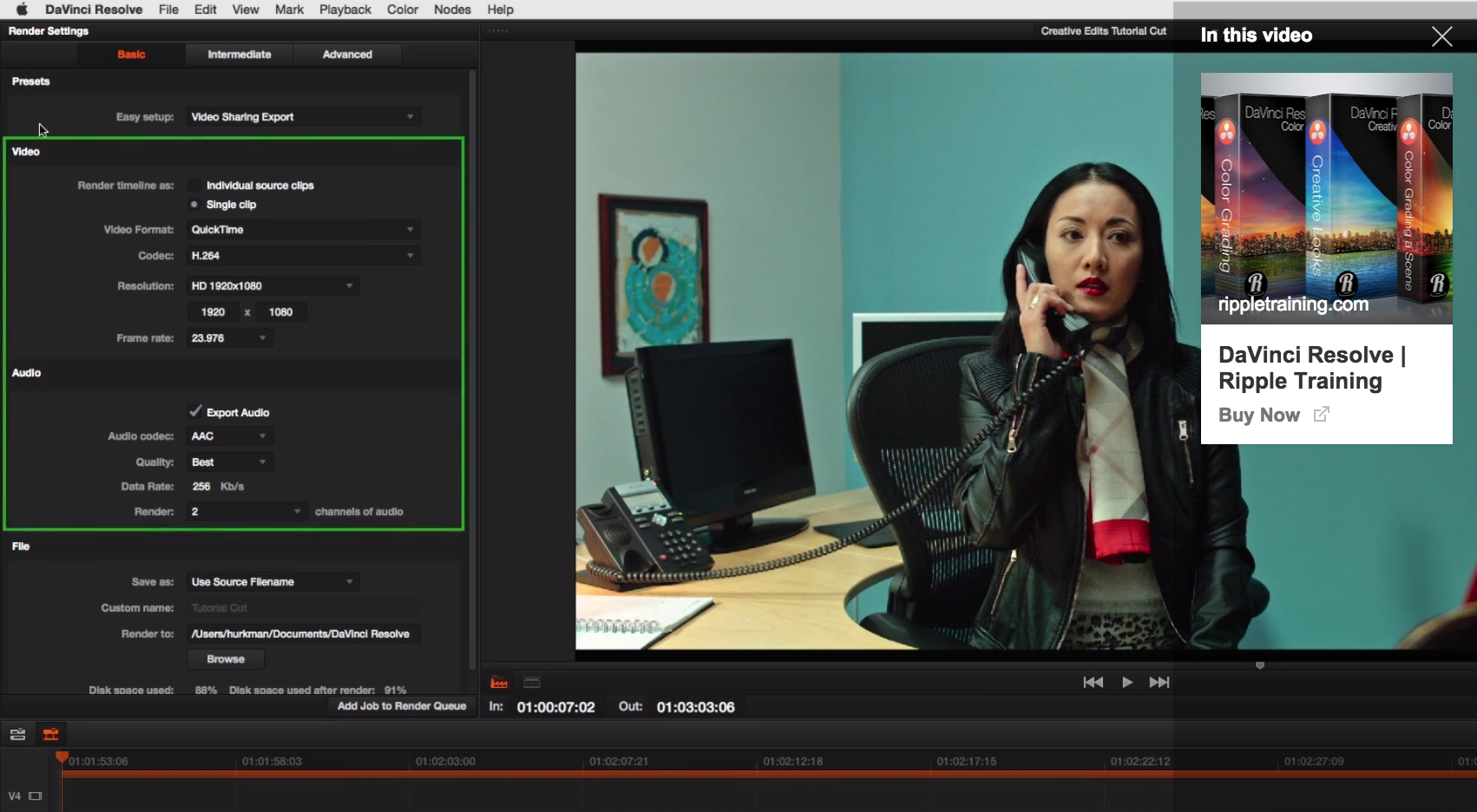 Exporting H.264 from Davinci Resolve 11 11