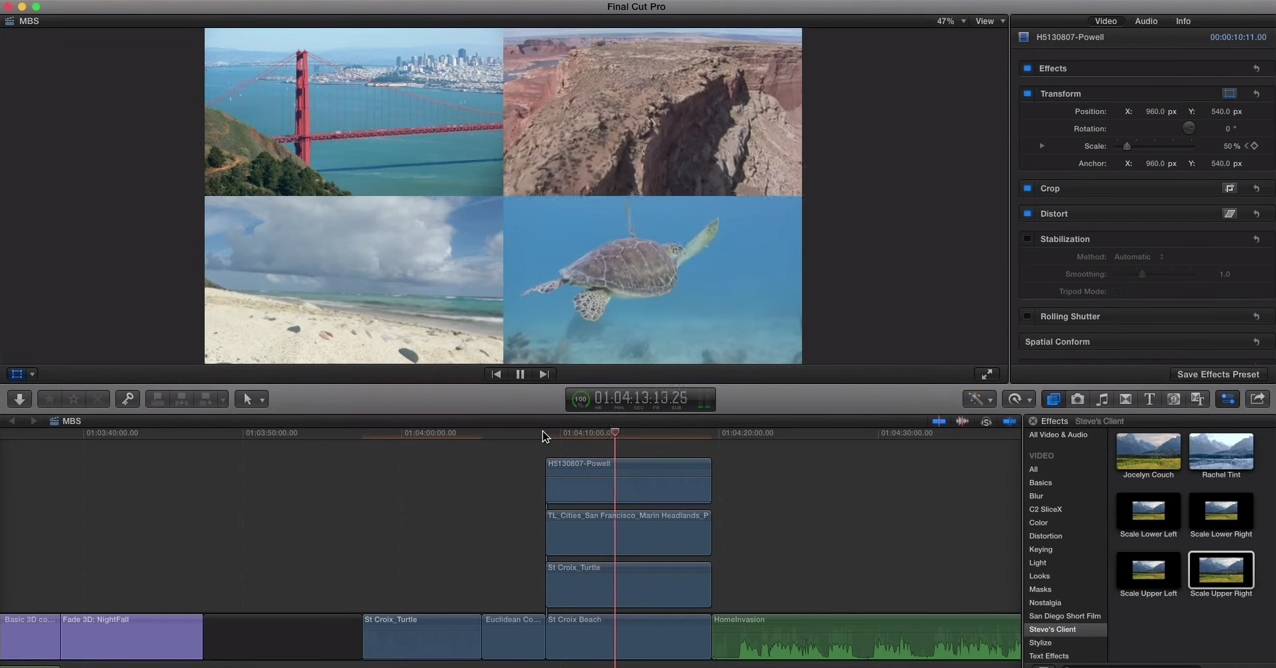 Saving Transform Presets in FCP X 4