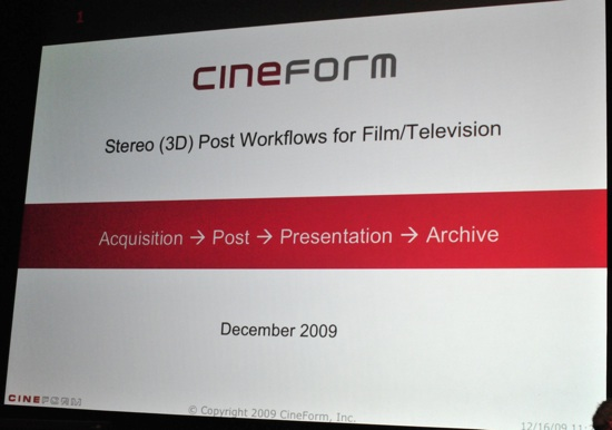 Band Pro 3D - Cineform - it is time to look at them again 3